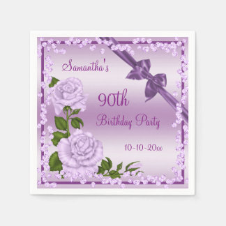 Guardanapo De Papel 90 da flor, dos arcos & dos diamantes do Lilac