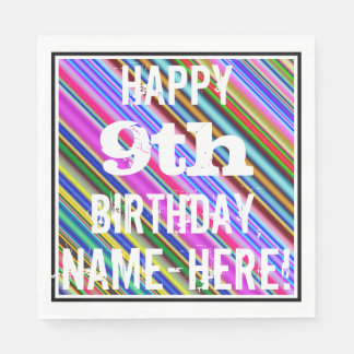 Guardanapo De Papel 9o aniversário vibrante, colorido + Nome feito sob