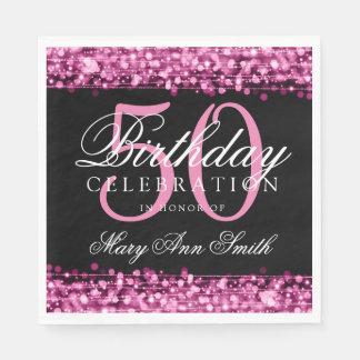 Guardanapo De Papel A 50th festa de aniversário elegante Sparkles rosa