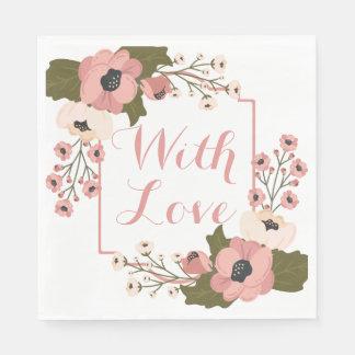 Guardanapo De Papel A aguarela floral do rosa do amor floresce o