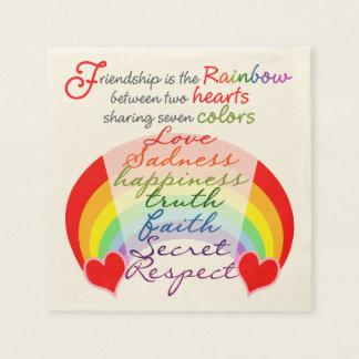 Guardanapo De Papel A amizade é o arco-íris BFF que diz o design