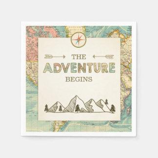 Guardanapo De Papel A aventura começa o viagem do mapa do mundo do