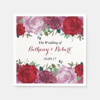 Guardanapo De Papel A coleção floral romântica do casamento