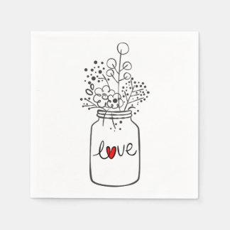 Guardanapo De Papel A festa de casamento floral rústica do frasco de