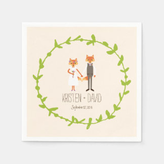Guardanapo De Papel A floresta lunática Foxes o casamento do marfim