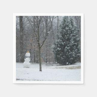 Guardanapo De Papel A fotografia da neve do inverno do boneco de neve