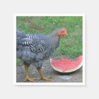 Guardanapo De Papel A galinha do feliz aniversario ama a melancia
