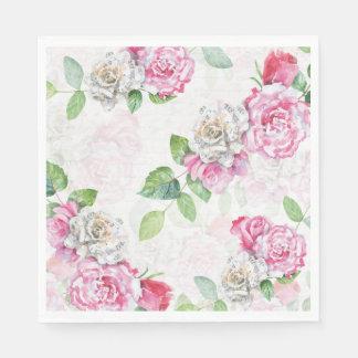 Guardanapo De Papel A música branca do rosa de rosas da aguarela nota