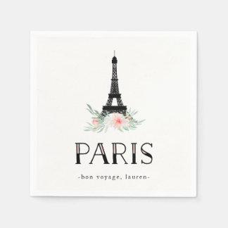 Guardanapo De Papel A torre Eiffel na moda e cora flores cor-de-rosa |