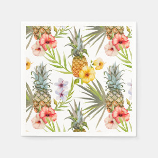 Guardanapo De Papel Abacaxi tropical das folhas das flores da aguarela