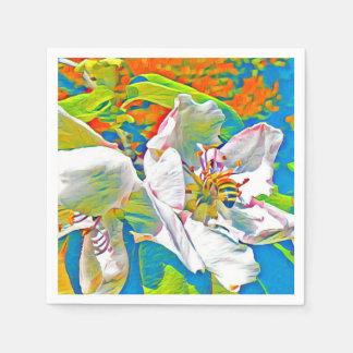 Guardanapo De Papel Abelha na flor do marmelo em cores do partido
