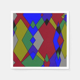 Guardanapo De Papel Abstrato colorido retro do diamante