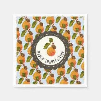 Guardanapo De Papel Acção de graças da fruta das peras da queda