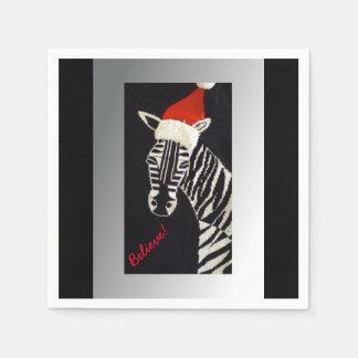 Guardanapo De Papel Acredite! Zebra do Natal com o chapéu vermelho do