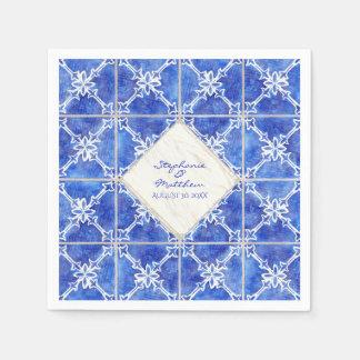 Guardanapo De Papel Aguarela branca azul do casamento do teste padrão