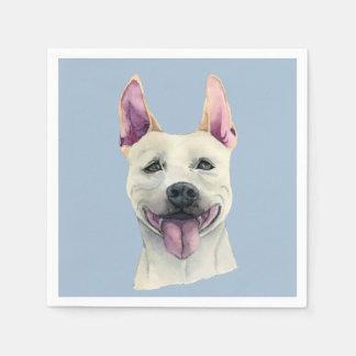 Guardanapo De Papel Aguarela branca do cão de Staffordshire bull