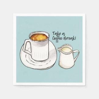 Guardanapo De Papel Aguarela da ruptura de café e ilustração da tinta