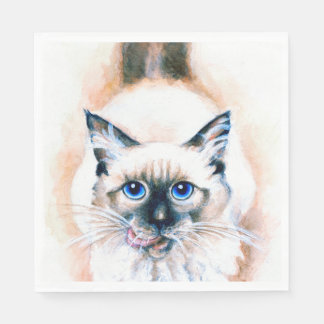 Guardanapo De Papel Aguarela do gato Siamese