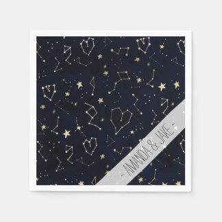 Guardanapo De Papel Aguarela dos azuis marinhos da estrela do coração