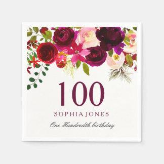 Guardanapo De Papel Alguma festa de aniversário floral de Borgonha