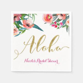Guardanapo De Papel Aloha costume floral do chá de panela do verão