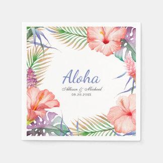 Guardanapo De Papel Aloha estilo floral tropical de Luau