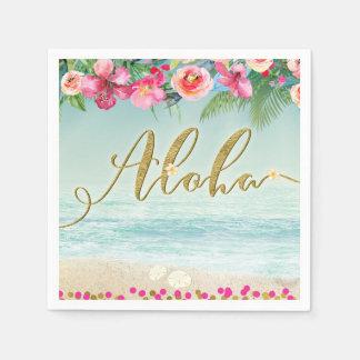 Guardanapo De Papel ALOHA o hibiscus tropical da praia do ouro