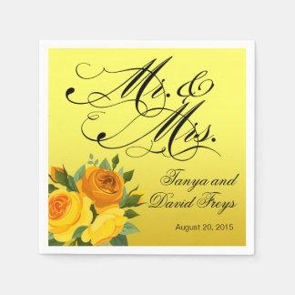Guardanapo De Papel Amarelo do Sr. & da Sra. Roteiro Tipografia Rosa