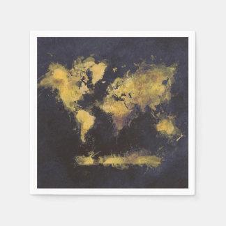 Guardanapo De Papel amarelo preto do mapa do mundo