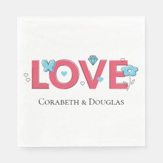 Guardanapo De Papel Amor cor-de-rosa que Wedding a borboleta azul do