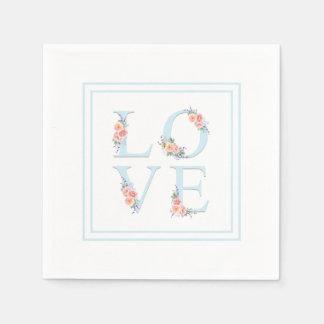 Guardanapo De Papel Amor no alfabeto floral Pastel da flor