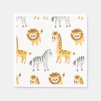 Guardanapo De Papel Animais bonitos do bebê do leão e do girafa da