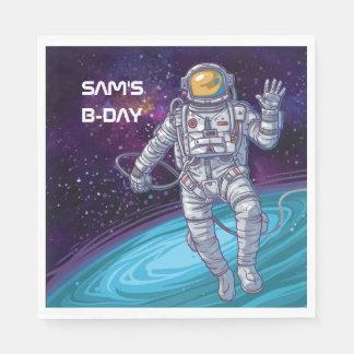 Guardanapo De Papel Aniversário. Astronauta no espaço com estrelas &