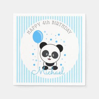 Guardanapo De Papel Aniversário azul da panda de Cutie