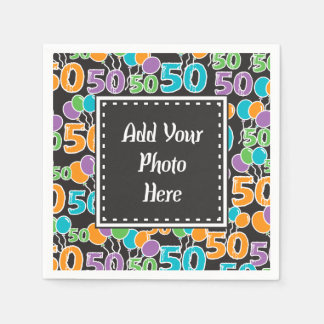 Guardanapo De Papel Aniversário colorido personalizado da foto 50th