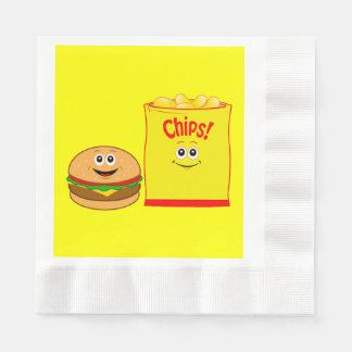 Guardanapo De Papel Aniversário das microplaquetas do cheeseburger e