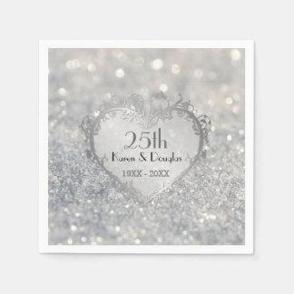 Guardanapo De Papel Aniversário de casamento do coração de prata da