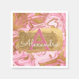 Guardanapo De Papel Aniversário de mármore elegante do rosa quente e