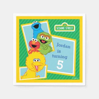 Guardanapo De Papel Aniversário dos amigos do Sesame Street