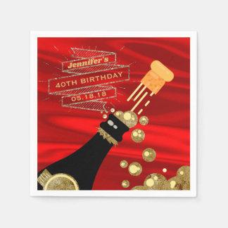 Guardanapo De Papel Aniversário elegante de Champagne do preto