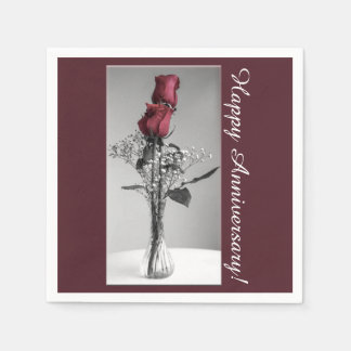 Guardanapo De Papel Aniversário feliz da fotografia   das rosas