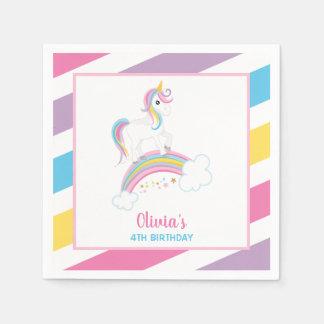 Guardanapo De Papel Aniversário mágico do unicórnio do arco-íris