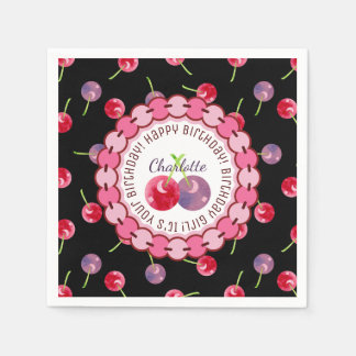 Guardanapo De Papel Aniversário personalizado aguarela das cerejas