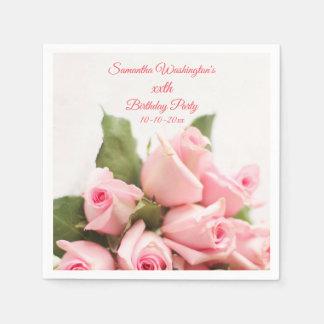 Guardanapo De Papel Aniversário romântico do buquê do rosa do rosa