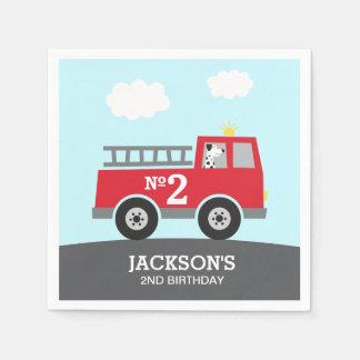 Guardanapo De Papel Aniversário vermelho do carro de bombeiros