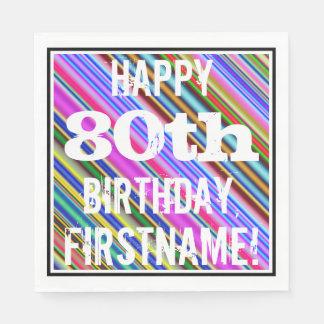Guardanapo De Papel Aniversário vibrante, colorido do 80 + Nome feito