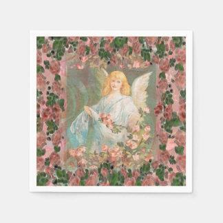 Guardanapo De Papel Anjo-da-guarda com rosas cor-de-rosa