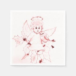 Guardanapo De Papel Anjo pequeno no vermelho brilhante