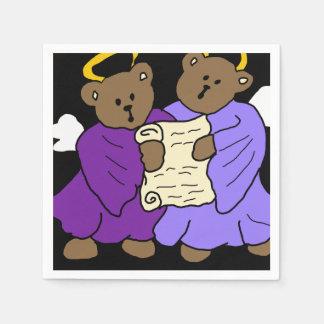 Guardanapo De Papel Anjos do urso de ursinho do canto em vestes roxas