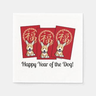 Guardanapo De Papel Ano afortunado do Corgi do envelope vermelho